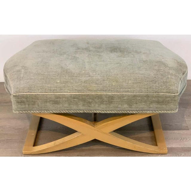 """Angelo Donghia """"Versailles"""" blonde wood bench/ ottoman by John Hutton, good size, estate fresh, ready for reupholstery in..."""