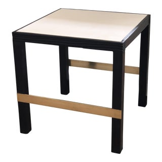 Contemporary Shou Sugi Ban, Cast Plaster and Brass Side Table For Sale