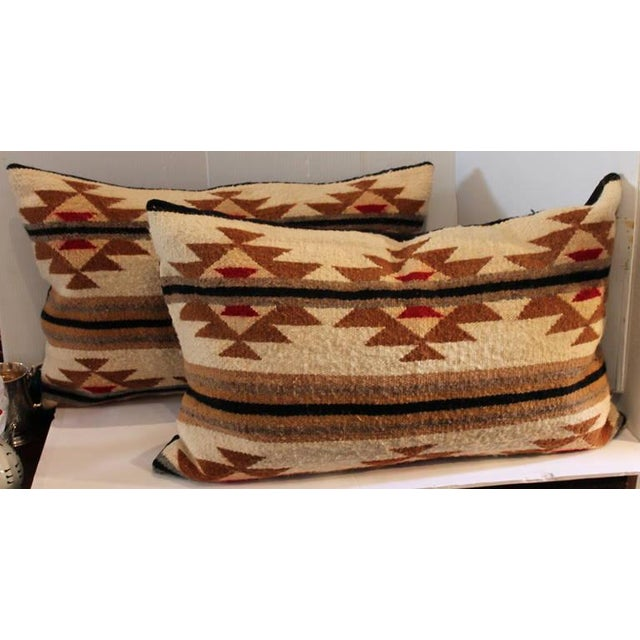 1930s Pair of Navajo Indian Weaving Bolster Pillows For Sale - Image 5 of 5