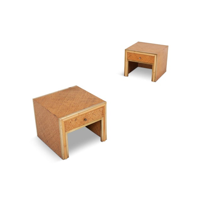Brass and Wicker Vivai Del Sud Pair of Night Stands or Side Tables For Sale - Image 9 of 9