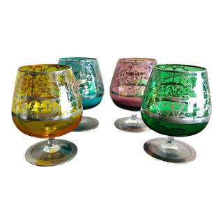 Antique Silver & Murano Cognac Glasses - Set of 4