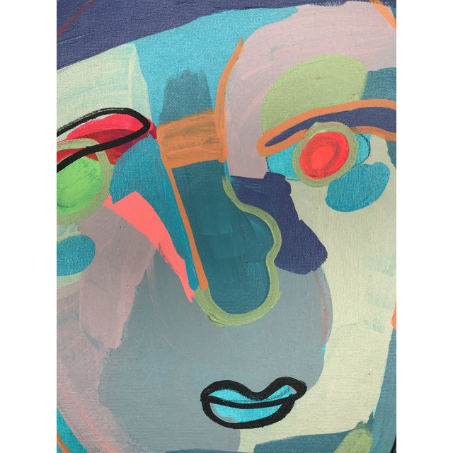 """Contemporary Abstract Portrait Painting """"Let's Chat"""" - Framed For Sale - Image 4 of 9"""