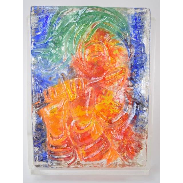 "Reuven Rubin (Israeli, 1893-1974) and Egidio Constantini (Italian, 1912-2007) ""Flutist"", 1970, bas-relief clear glass..."