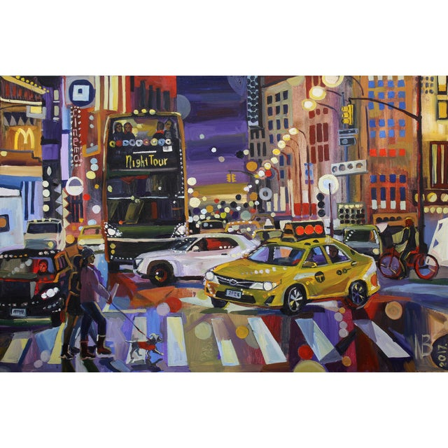 """2010s Large """"Nyc Lights"""" Acrylic Oil Painting by Natalia Bessonova For Sale - Image 5 of 5"""