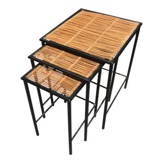 Bamboo & Iron Modern Nesting Tables - Set of 3 For Sale