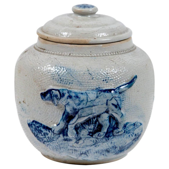 19th Century Blue Glaze Stoneware Covered Jar For Sale - Image 9 of 9