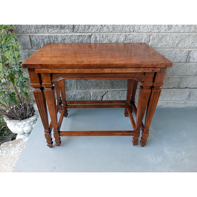 Vintage Heritage Furniture Cherry Nesting Tables With Curly Burl Wood Banding, 2 Pieces For Sale - Image 13 of 13