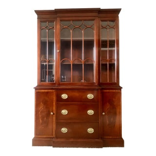 Antique Mahogany Breakfront China Cabinet or Bookcase, Circa 1920s For Sale