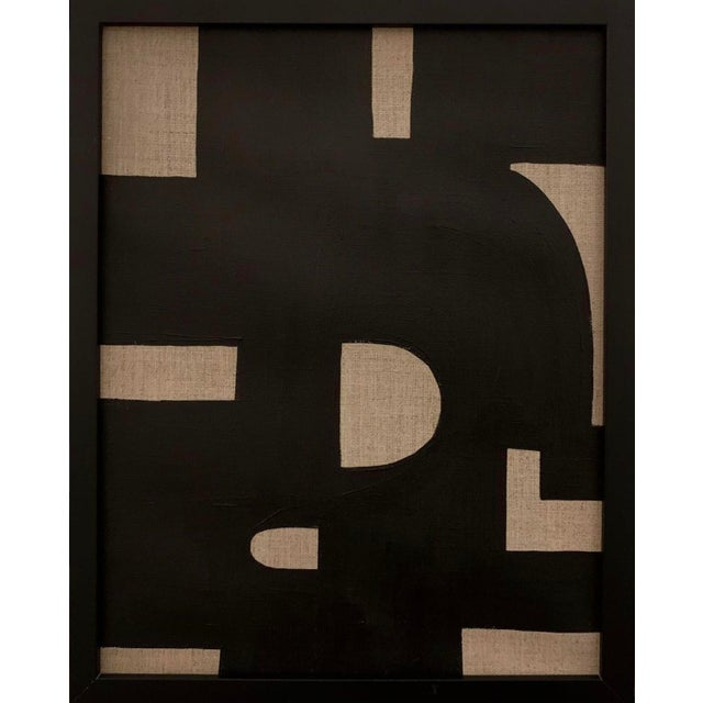 Original Geometric Black on Linen Framed Painting For Sale