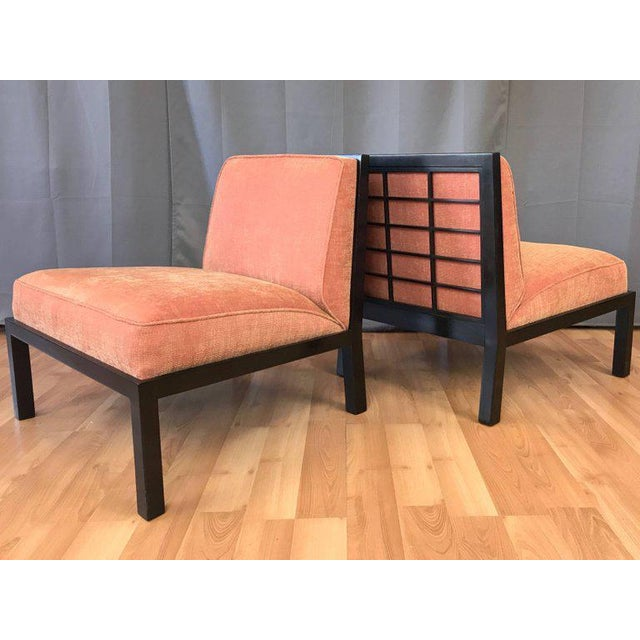 A pair of midcentury slipper-style lounge chairs from Michael Taylor's Far East Collection for Baker Furniture. Low-...