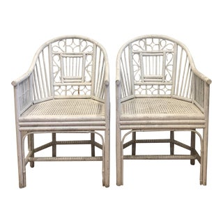 Chinese Chippendale Bamboo White Cane Chairs - a Pair