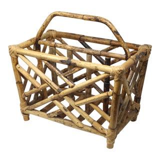 Vintage Fretwork Hollywood Regency Bamboo Rattan Magazine Rack For Sale