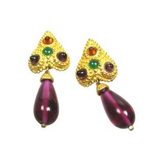 1980s Deanna Hamro Spade Motif Glass Drop Earrings For Sale