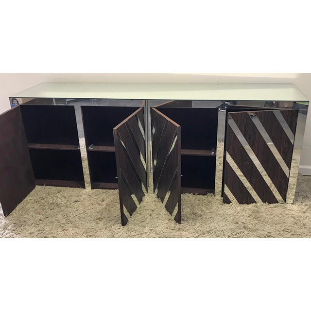 Rosewood and Mirrored Credenza For Sale - Image 4 of 6