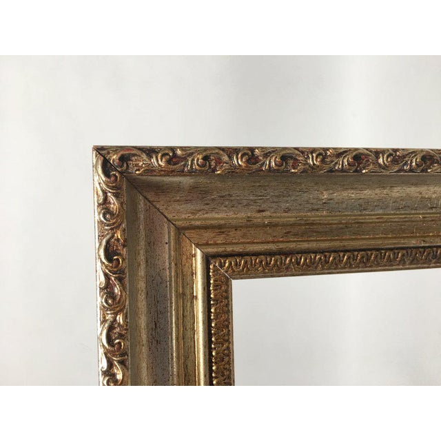 Cream Large 34 X 28 Italian Gold and Silver Giltwood Ornate Wood Frames - a Pair For Sale - Image 8 of 13