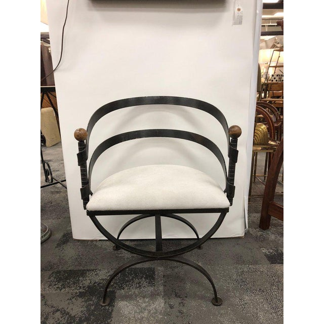 """Rare 1950s midcentury iron side chair by Adrian Pearsall with new suede upholstery. Dimensions: Arm height 26""""."""