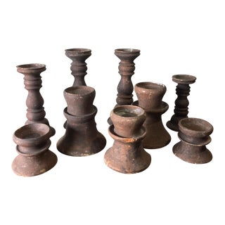 Set Of 9 Rustic Terra Cotta Candle Holders