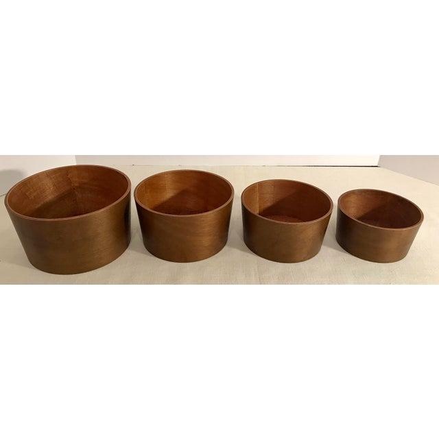 Vintage Wooden Nesting Snack Bowls - Set of 4 - Image 6 of 10