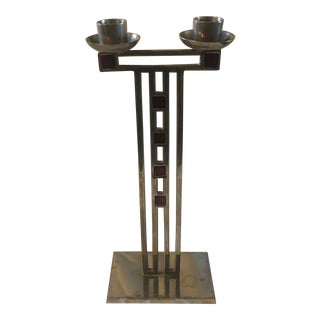 1970s Art Deco Architectural Brutalist Candleholder For Sale