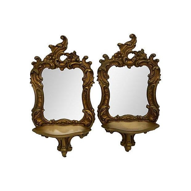 Rococo-Style Shelves Mirrors - A Pair - Image 1 of 4