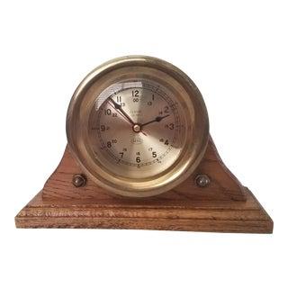 Vintage Aitg Classic Quartz Brass Nautical Ship's Clock For Sale