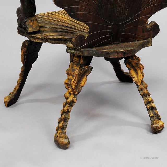 Brown Antique Wooden Carved Grotto Armchair Ca. 1880 For Sale - Image 8 of 9