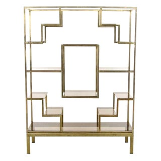 Romeo Rega Brass & Glass Etagère / Room Divider, C.1970 For Sale