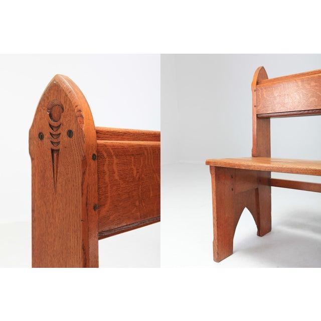 Oak Mid-Century Modern Solid Oak Bench Wabi Sabi Style For Sale - Image 7 of 9