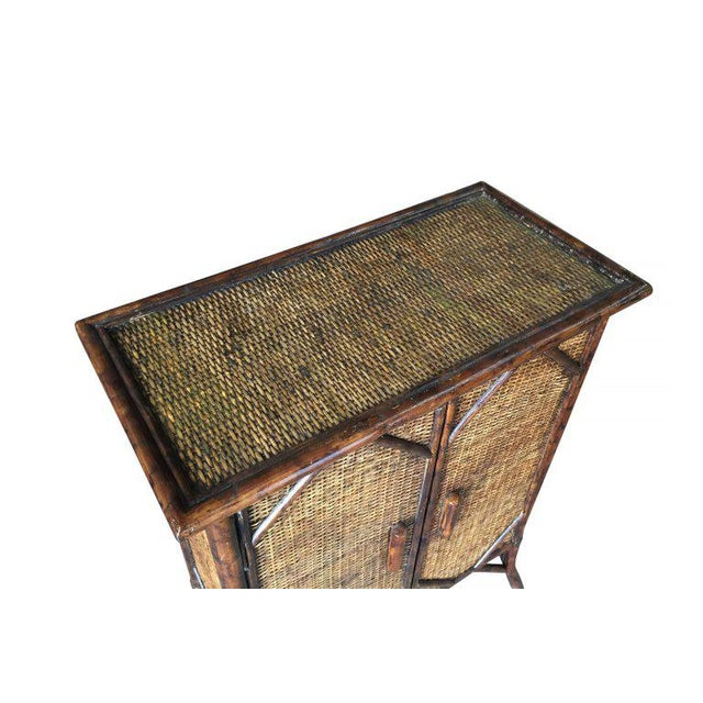 Restored Tiger Bamboo Cabinet With Rice Mat Covering - Image 5 of 5