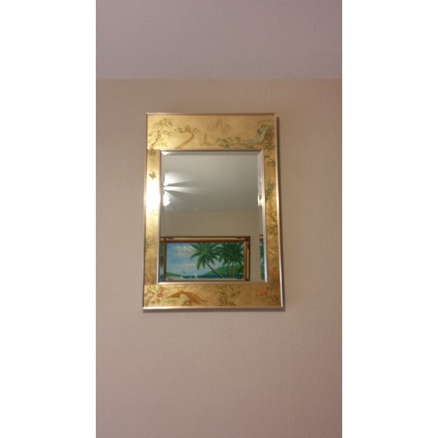 This listing is for a Labarge Chinoiserie Eglomise Reverse Painted Gold Leaf Mirror (signed). Autenthic handpainted art...