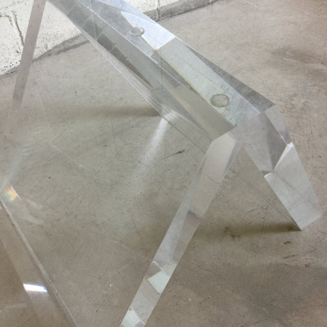 Glass Cantilevered Glass & Lucite Coffee Table For Sale - Image 7 of 10
