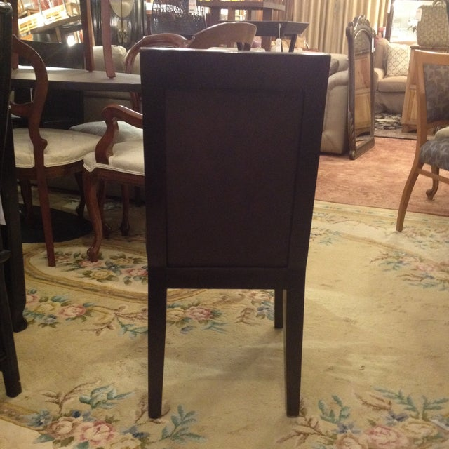 Doug Levin Brown Wood & Leather Side Chair - Image 4 of 7