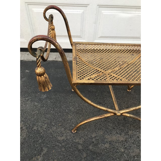 Italian Gilt Metal Rope and Tassel Double X Base Bench - Image 4 of 9