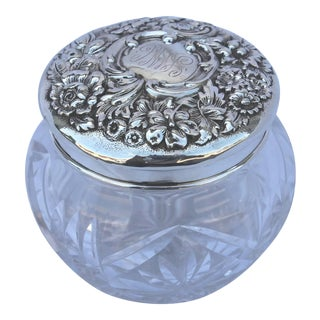 Collection of Six Assorted Cut-Glass and Sterling Jars For Sale