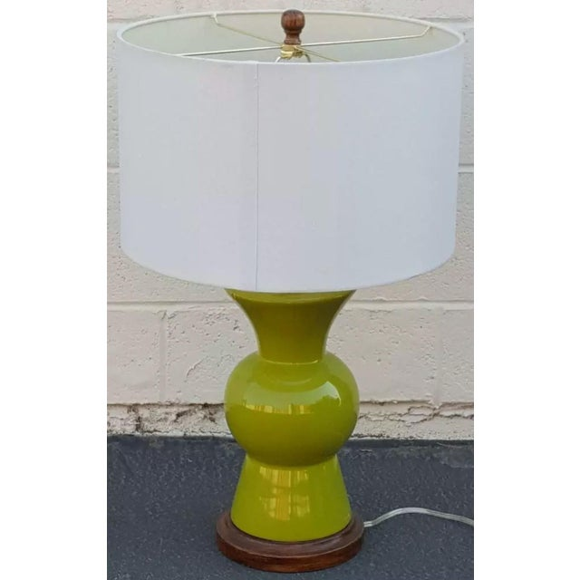 1970s Mid-Century Modern Lime Green Table Lamp With Shade ...