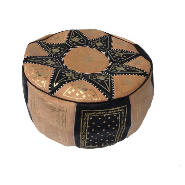 Moroccan Black & Tan Hand Stitched Pouf - Image 3 of 4