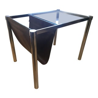 1970s Mid Century Modern Chrome Glass Table With Magazine Rack For Sale