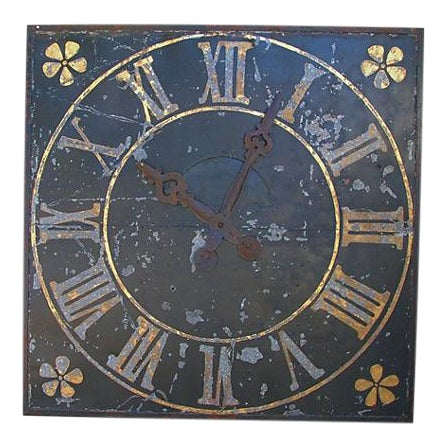 "X-Large Stunning Antique French Iron & Gilt Tower Clock Face 79"" Square For Sale - Image 9 of 9"
