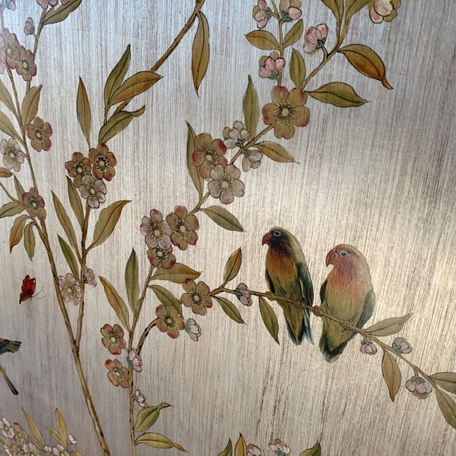 2010s Hand Painted Chinoiserie Wall Panels- a Pair For Sale - Image 5 of 13