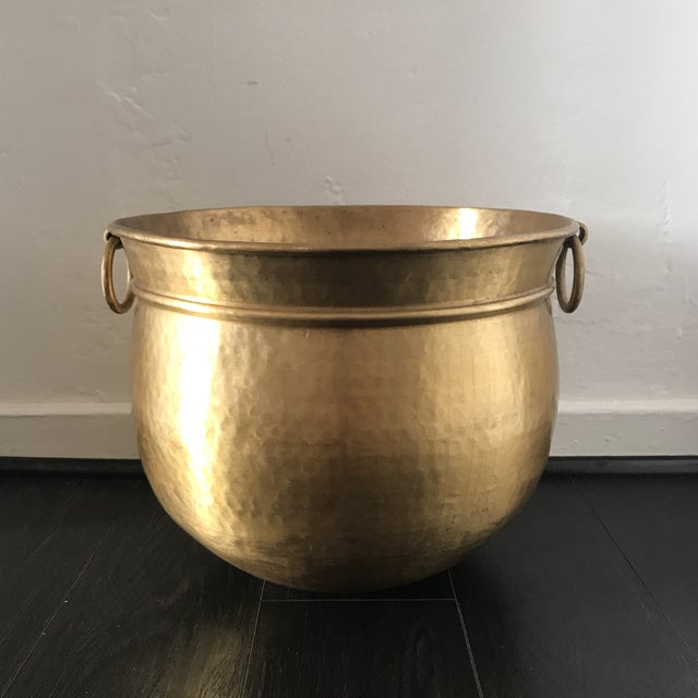 Made in India, solid brass planter with patina and hammered finish.