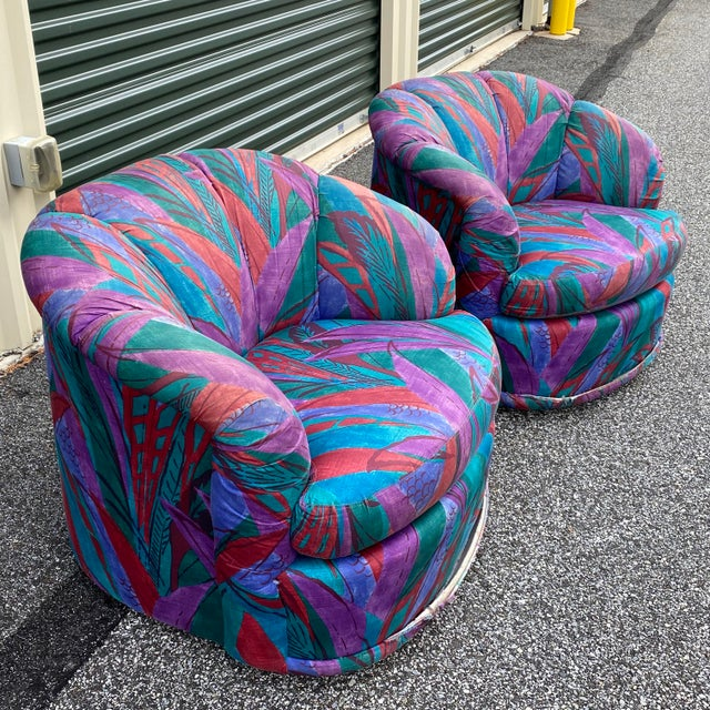 1980s Modern Swivel Chairs by American of Martinsville - a Pair For Sale - Image 13 of 13