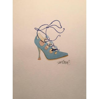 Contemporary Powder Blue High-Heeled Watercolor Painting For Sale