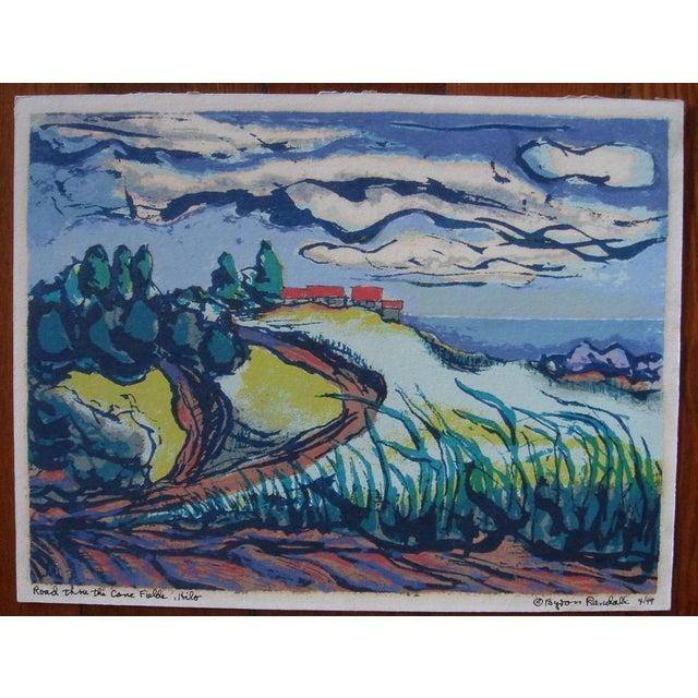 "This silkscreen print is ""Road thru the Cane Fields, Hilo"" by San Francisco artist Byron Randall (1918 -1999 ). It was..."