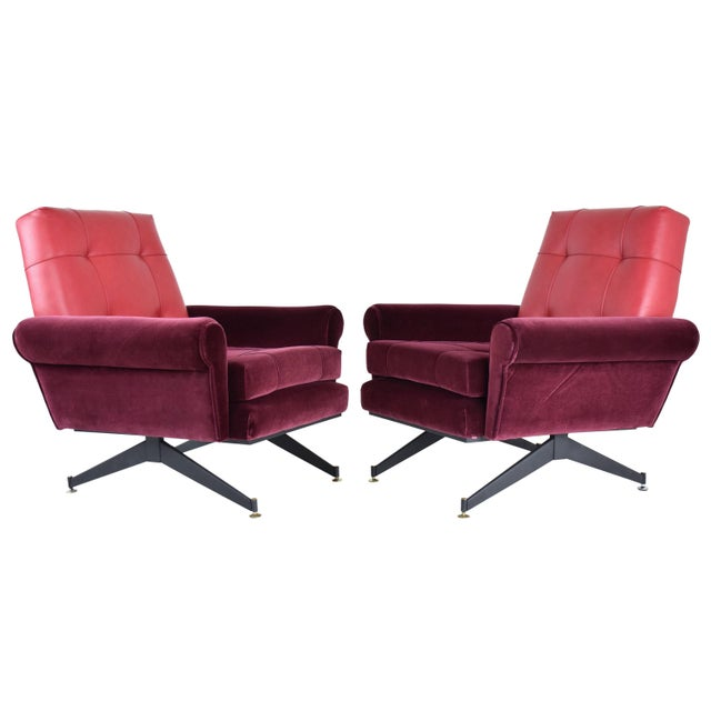 Pair of Italian Vintage Mid-Century Velvet Steel Armchairs, 1950's For Sale - Image 13 of 13