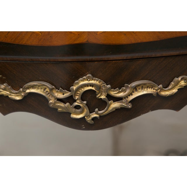 White Louis XV Style Two-Drawer Commode With Varigated Marble Top For Sale - Image 8 of 13