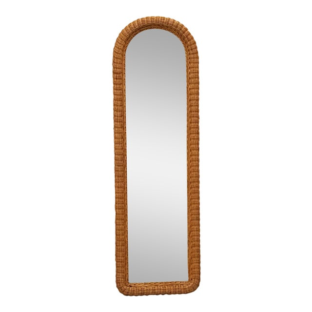 Tall Wicker Wall Mirror For Sale