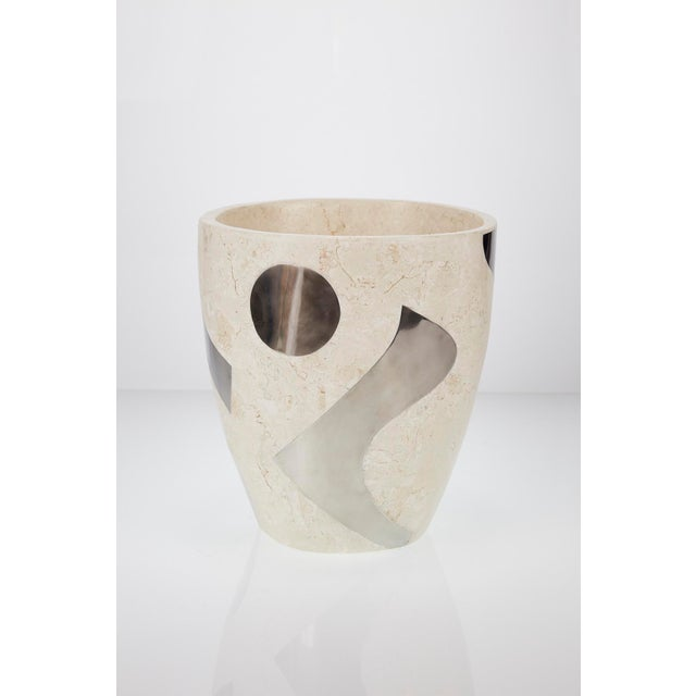 """Abstract 1990s Vintage Medium Postmodern Tessellated Stone """"Et Cetera"""" Planter For Sale - Image 3 of 10"""