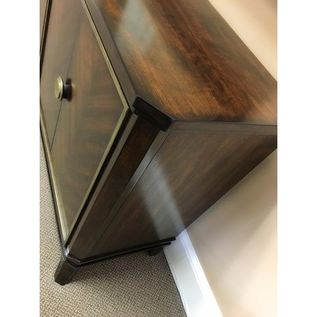 Brass Sleek Funky Herringbone Wooden Sideboard For Sale - Image 7 of 9