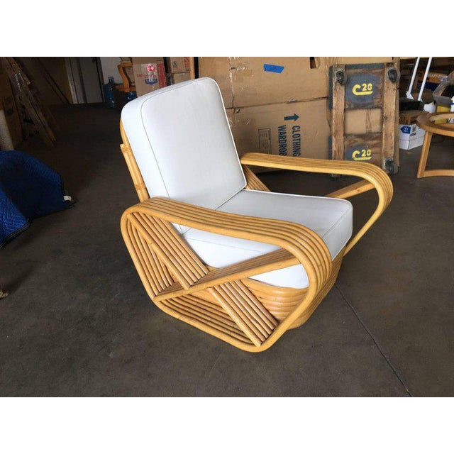 Art Deco Restored Paul Frankl Style Six-Strand Square Pretzel Rattan Lounge Chair For Sale - Image 3 of 7