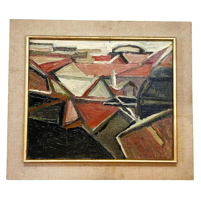 1960s 20th Century Abstract Roofs Painting by Daniel Clesse For Sale - Image 5 of 5